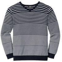 Bonprix Sweter w paski, z dekoltem w serek, regular fit  ciemnoniebiesko-biały w paski