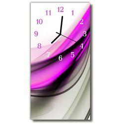 Zegar Szklany Pionowy Sztuka Abstrakcja linie purpurowy