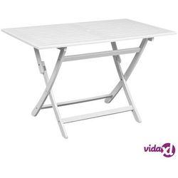 Vidaxl stół ogrodowy, biały, 120 x 70 x 75 cm, lite drewno akacjowe