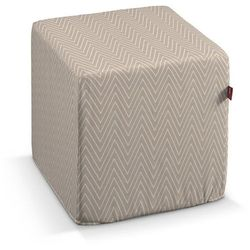 Dekoria  pufa kostka twarda, białe zygzaki na beżowym tle, 40x40x40 cm, brooklyn