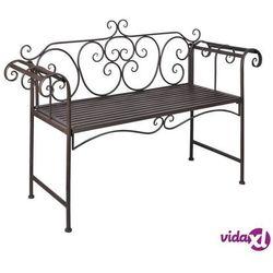 metalowa ławka z ozdobnym oparciem, brązowa marki Vidaxl