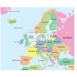Fototapeta Kolorowa mapa polityczna Europy - produkt z kategorii- mapy