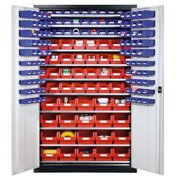 Eurokraft Szafa o dużej pojemności z blachy stalowej,z 10 półkami, 165 otwartych pojemników magazynowych
