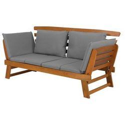 Sofa ogrodowa drewniana jasnobrązowa regulowane podłokietniki PORTICI