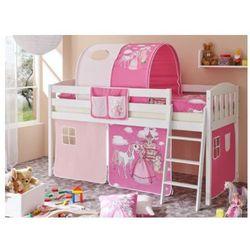 Ticaa kindermöbel Ticaa łóżko z drabinką eric v sosna biały, konik (pink), kategoria: łóżeczka i kołyski