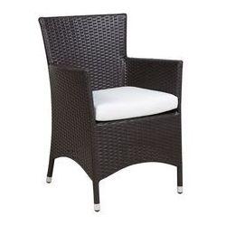 Beliani zestaw 2 krzeseł ogrodowych ciemnobrązowy poducha biała italy (4251682206518)