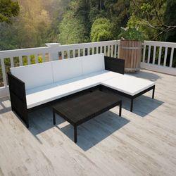 czarny, poliratanowy zestaw wypoczynkowy z sofą 3 osobową marki Vidaxl