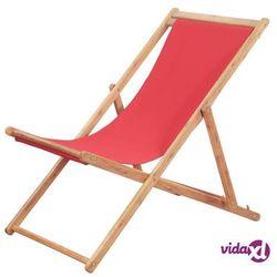 Vidaxl składany leżak plażowy, tkanina i drewniana rama, czerwony