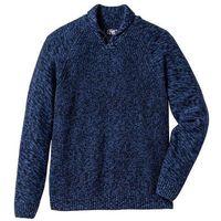 Sweter z szalowym kołnierzem Regular Fit bonprix ciemnoniebieski melanż