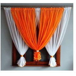 Firanka Gotowa Nikola 150x400cm pomarańczowo-biała, kolor pomarańczowy