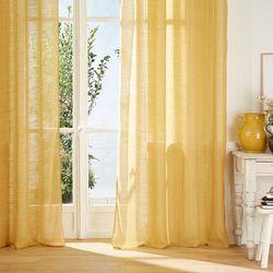 Atmosphera créateur d'intérieur Dekoracyjna zasłona o wymiarach 240 x 135 cm, kolor żółty, z metalowymi kółkami, otworami do zawieszania, delikatnie zaciemniająca