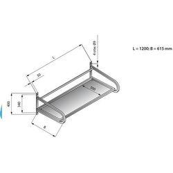 Półka wisząca do koszy 1200x615 mm   LOZAMET, LO366/1261