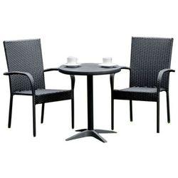Komplet mebli ogrodowych stolik z krzesłami Mawet z technorattanu czarny