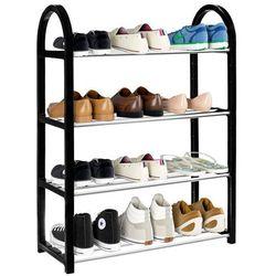 Szafka na buty z metalowymi 4 półkami regał czarny