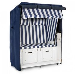 Blumfeldt hiddensee kosz plażowy niebieski 2-miejscowy 118 cm osłona kółka transportowe (4260509678940)