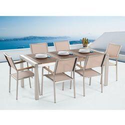 Meble ogrodowe - stół ze stali nierdzewnej 180 cm drewnianym blatem z 6 beżowymi krzesłami - GROSSETO z kategorii Zestawy ogrodowe