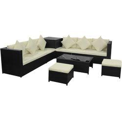 Vidaxl  zestaw mebli ogrodowych z sofą, rattanowy, czarny, 26 szt.