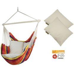 Fotel hamakowy z poduszkami i zestawem montażowym, żólto-czerwony Bench De Luxe + 2 x HP-209 + F2