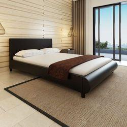 vidaXL Rama łóżka z zaokrąglonym podnóżkiem 140x200 cm Czarna Sztuczna Skóra (8718475932314)