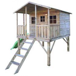 Drewniany domek ogrodowy dla dzieci GUCIO ze ślizgiem