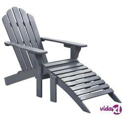 Vidaxl fotel ogrodowy z podnóżkiem, drewniany, szary (8719883557052)