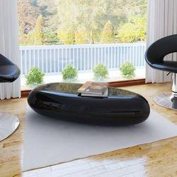 Stolik kawowy z włókna szklanego, czarny, wysoki połysk