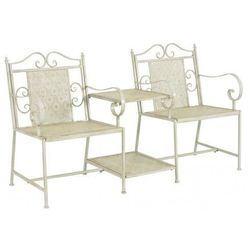 Metalowa ławka ogrodowa ze stolikiem gamma 2x - biała marki Elior
