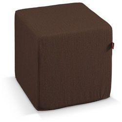 pufa kostka twarda, czekoladowy szenil, 40x40x40 cm, chenille marki Dekoria