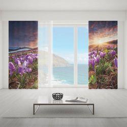 Zasłona okienna na wymiar komplet - CROCUS FLOWERS