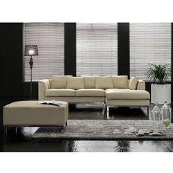 Nowoczesna sofa z pufą ze skóry naturalnej kolor beżowy L - kanapa OSLO, kolor beżowy