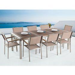 Meble ogrodowe - stół ze stali nierdzewnej 220 cm z drewnianym blatem z 8 beżowymi krzesłami - GROSSETO (7081456640647)