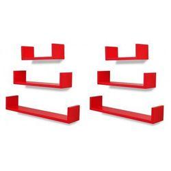 Zestaw funkcjonalnych półek ściennych Baffic - czerwony, vidaxl_275990