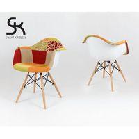 kr012f tapicerowany fotel patchwork 4 - kolorowy \ drewno buk ||metal marki Sk design