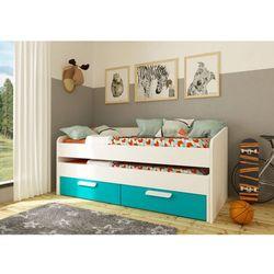Łóżko wysuwane ANSELME – 2 szuflady – 90 × 190 cm – kolor niebieski