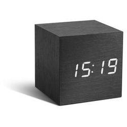 Gingko Zegar stołowy, budzik cube black click clock / white led by