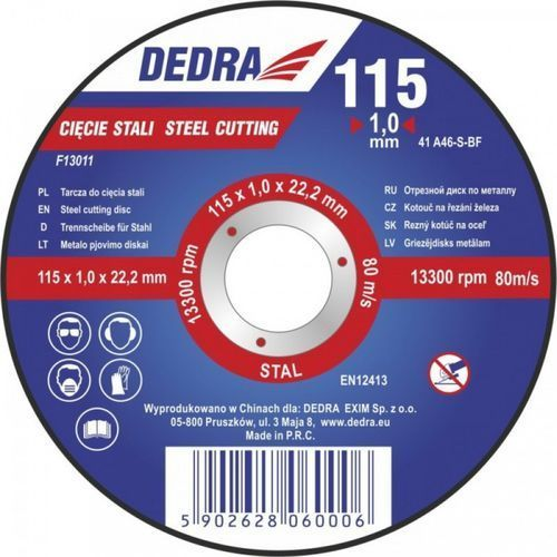 Tarcza do cięcia DEDRA F13024 125 x 3.2 x 22.2 mm do stali - oferta (0502672a6545d6b2)
