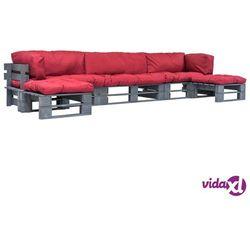 vidaXL Ogrodowe meble z palet, 6 szt., drewno FSC + czerwone poduszki