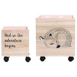 Zestaw 2 pudełek na kółkach, różowe