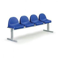 Ławka zewnętrzna Antywandal z oparciem - 4 siedziska, do betonowania - produkt z kategorii- Ławki ogrodowe
