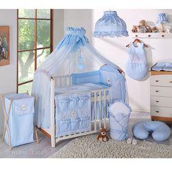 MAMO-TATO pościel 15-el Miś z serduszkiem w błękicie do łóżeczka 60x120cm - Moskitiera