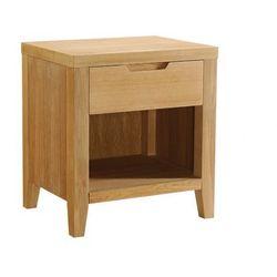 Stolik nocny skandynawski z drewna CHAMBARAN - 1 szuflada - Dąb olejowany