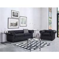Sofa kanapa skórzana czarna klasyka dom biuro CHESTERFIELD, kolor czarny