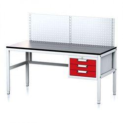 B2b partner Stół warsztatowy mechanic ii z panelem perforowanym, 1600 x 700 x 745-985 mm, 3 kontenery szufladowe, szary/czerwony