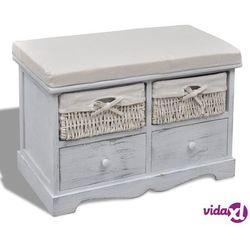 Vidaxl ławka drewniana z 2 szufladami, 2 koszami oraz poduszką, biała (8718475862345)
