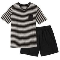 Piżama bonprix czarno-jasnoszary melanż w paski