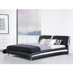 Nowoczesne łóżko skórzane 180x200 cm czarno-białe ze stelażem MADRID