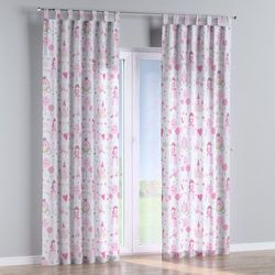 Dekoria Zasłona na szelkach 1 szt., różowo-szare wzory na białym tle, 1szt 130x260 cm, Little World