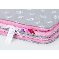 komplet kocyk minky 75x100 + poduszka gwiazdki bąbelkowe białe duże / róż marki Mamo-tato