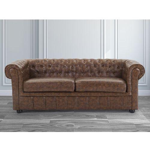 Sofa kanapa skórzana braz Old Style klasyka dom biuro CHESTERFIELD, Beliani z Beliani