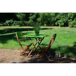 Zestaw ogrodowy limonkowy BONITA (stolik + krzesło x2) z kategorii Krzesła ogrodowe